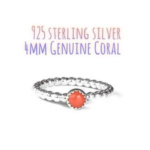 925S Genuine Coral Solitaire Stackable Ring